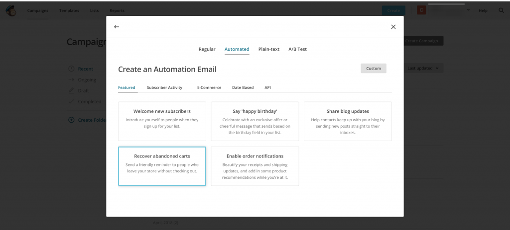 EDD Mailchimp Abandoned Cart - Create and abandoned Email