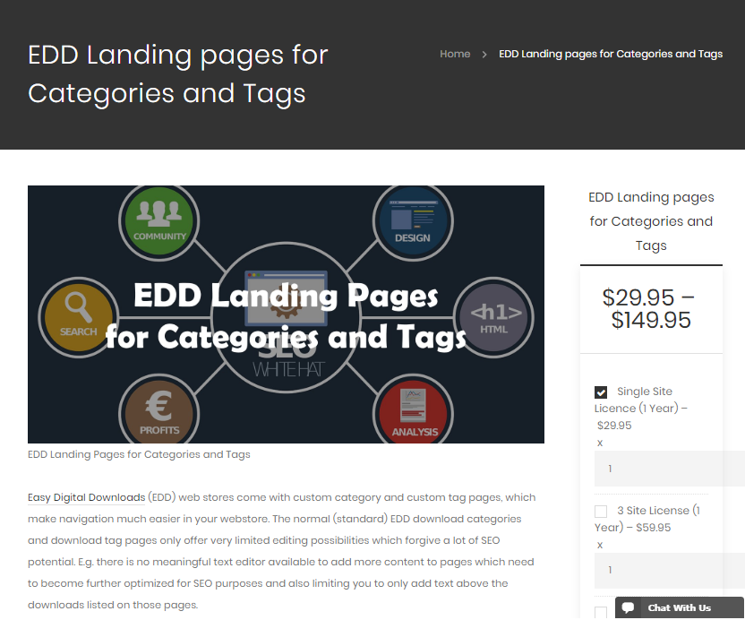 EDD Landing Pages for Categories and Tags
