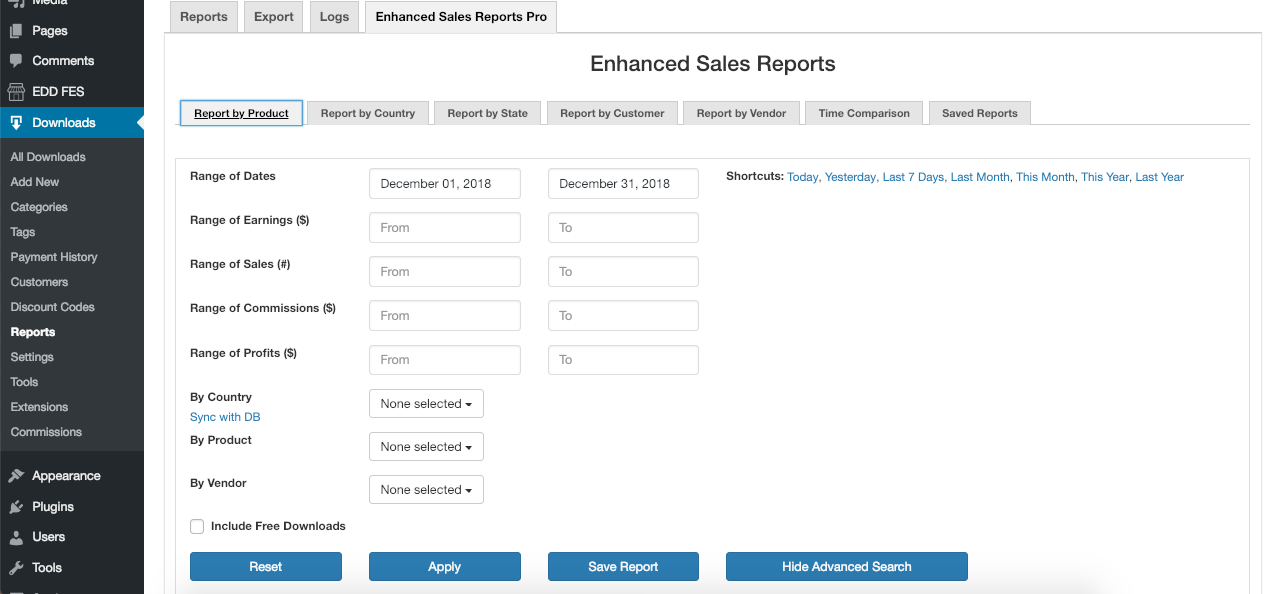 EDD Enhanced Sales Report Plugin Pro - Saved Reports
