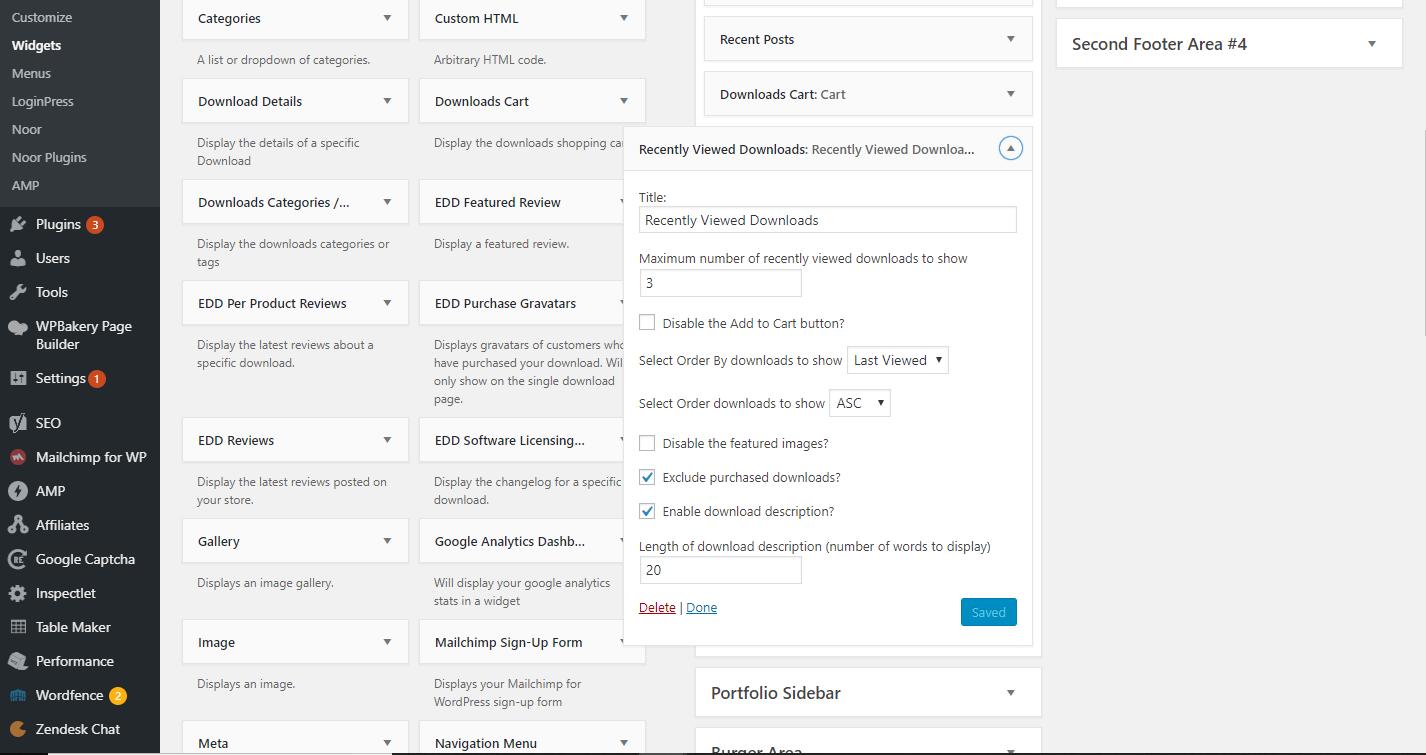 EDD Recently Viewed Downloads Widget Settings