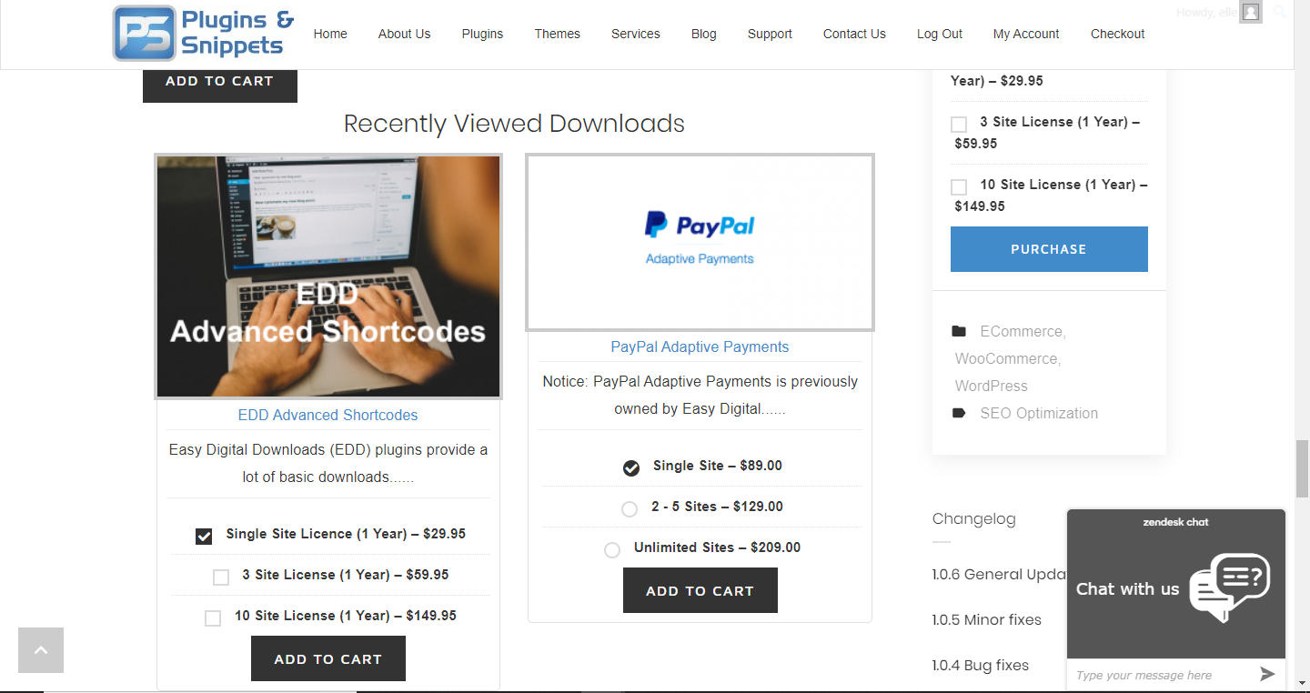 EDD Recently Viewed Downloads two-column view in a single downloads page