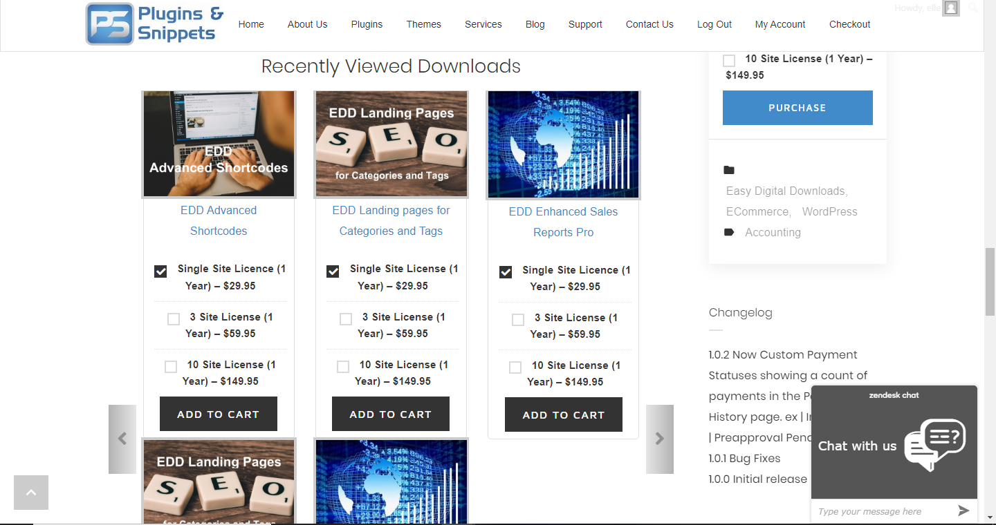 EDD Recently Viewed Downloads in a carousel/slider display