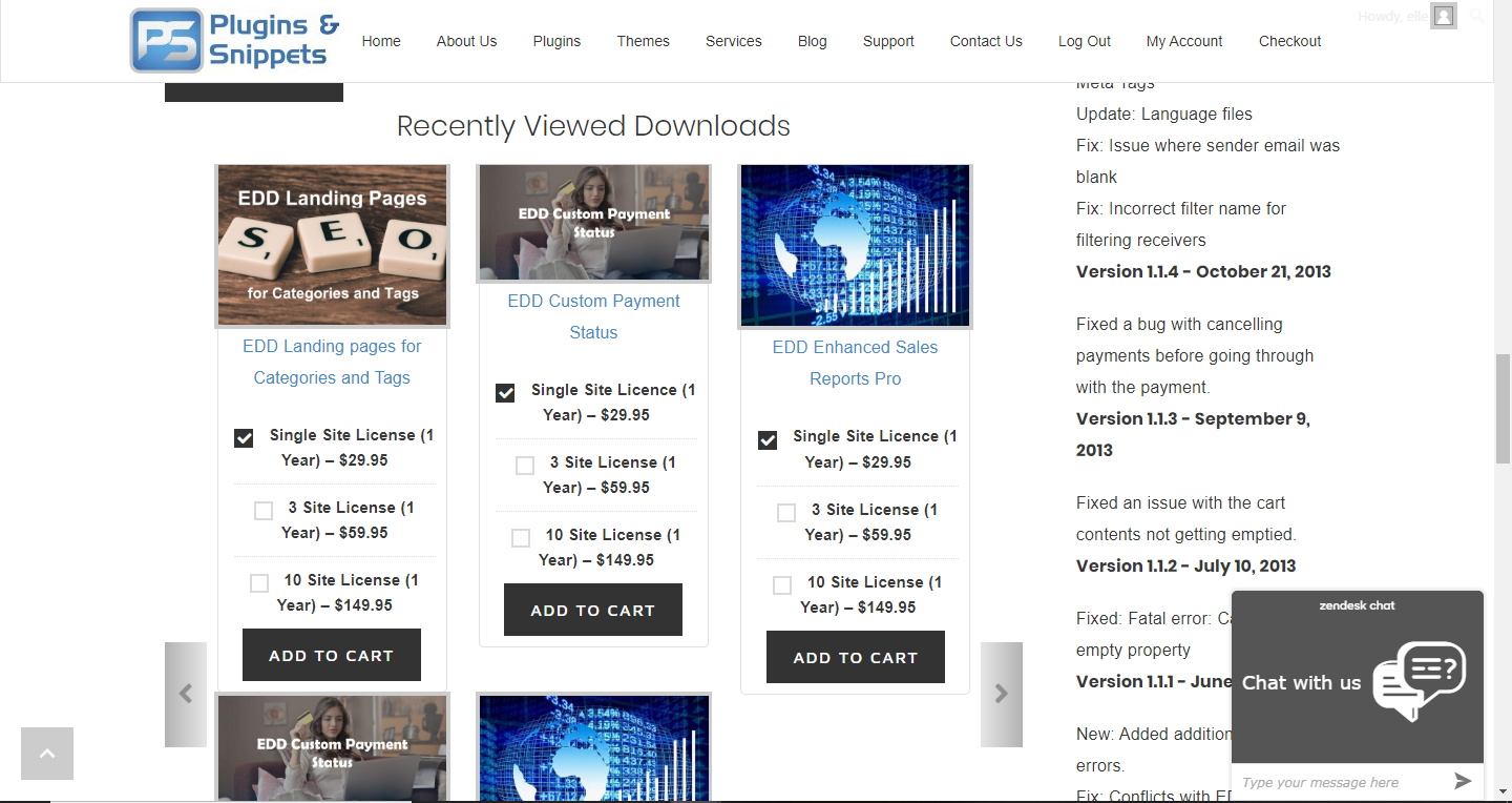 EDD Recently Viewed Downloads in a carousel/slider display disabling the downloads description