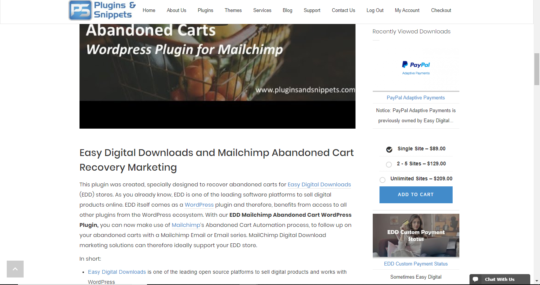 EDD Recently Viewed Downloads displaying as a sidebar widget