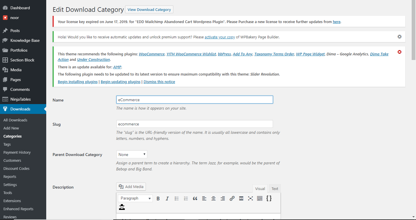 EDD Landing Page for Download Categories text fields