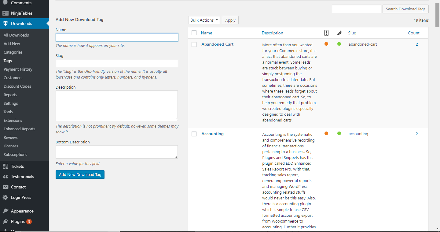 EDD Landing Page for Download Tags text fields