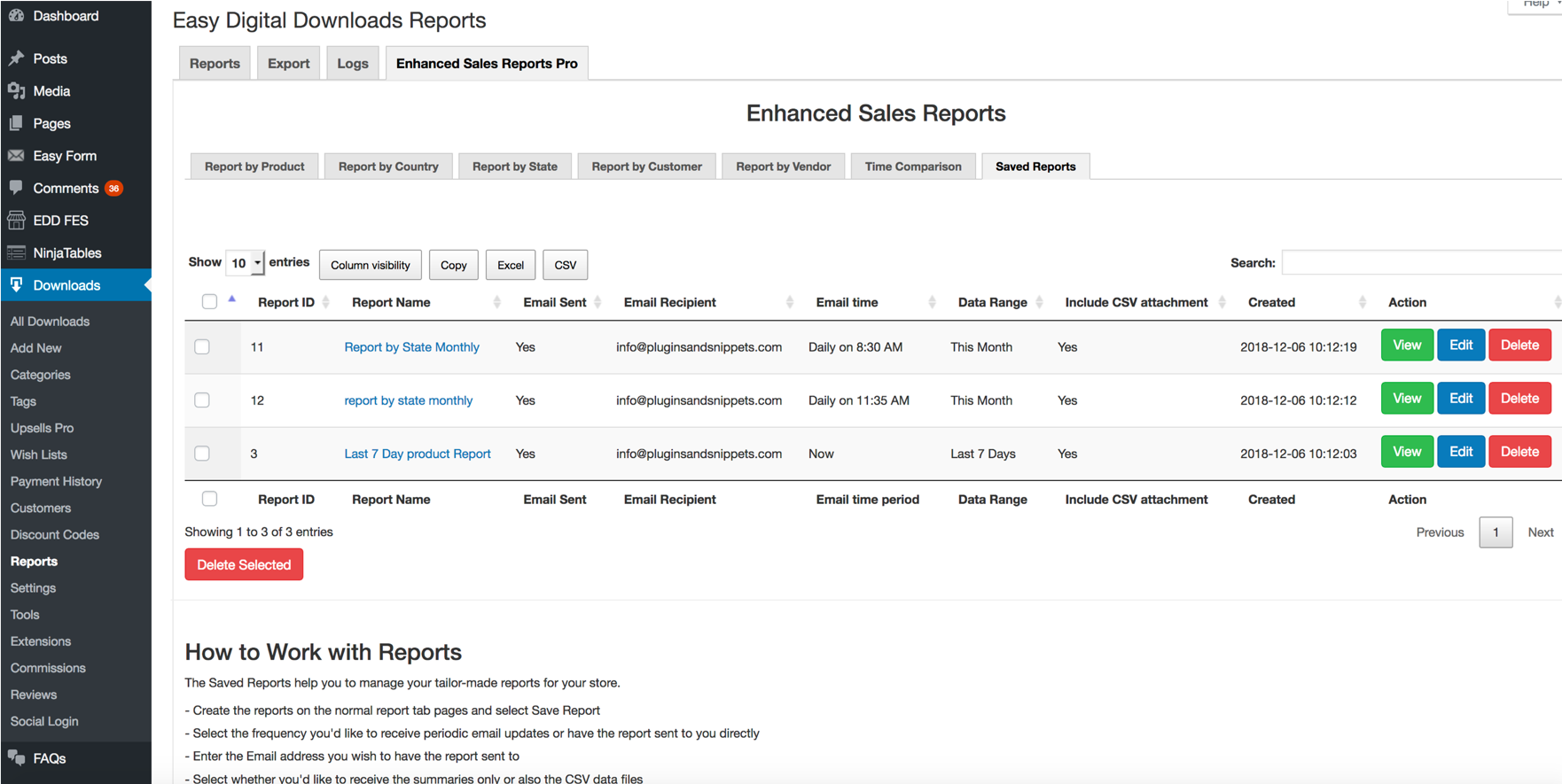 EDD Enhanced Sales Reports Pro Plugin List of Saved Reports