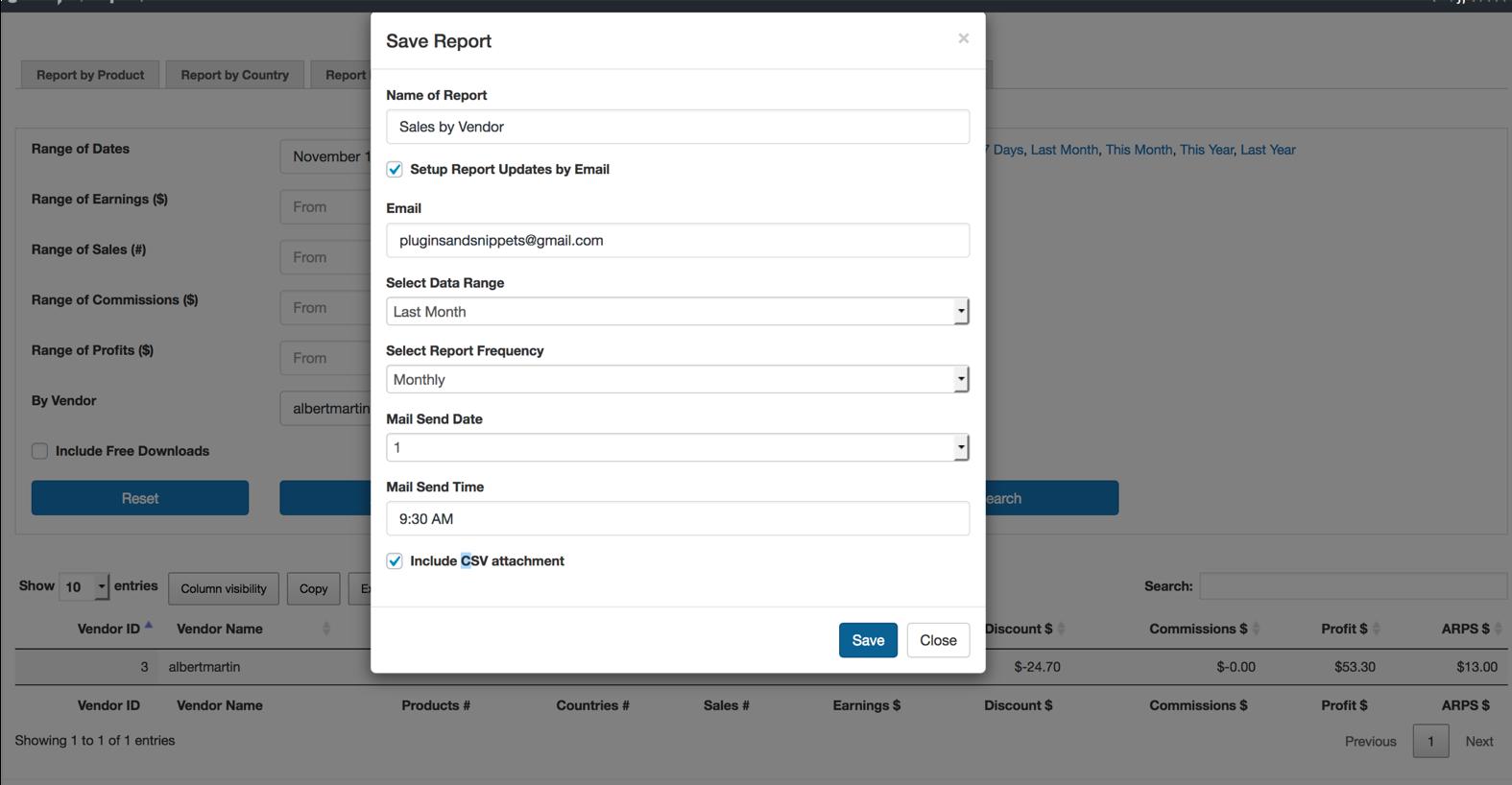 EDD Enhanced Sales Reports Pro Plugin Saving a Report