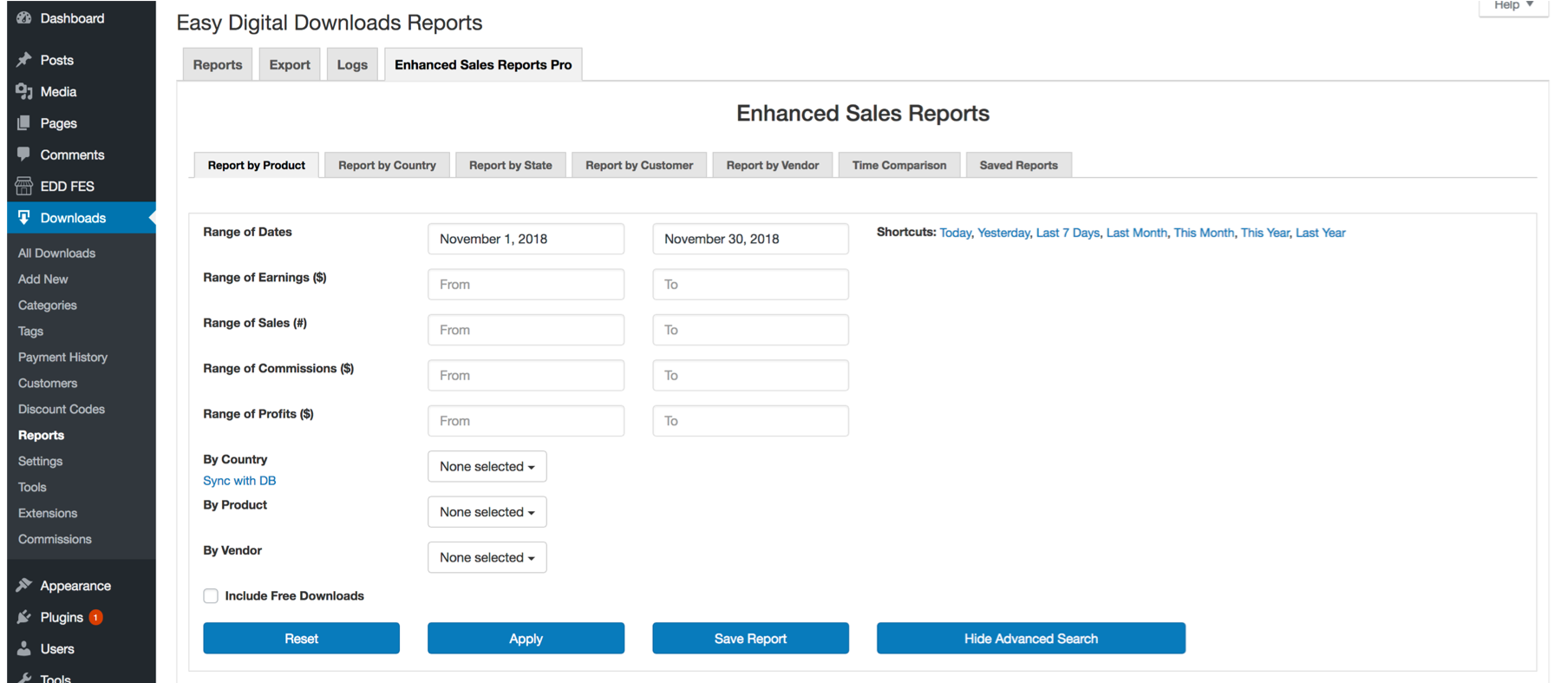EDD Enhanced Sales Reports Pro Plugin Search Filters