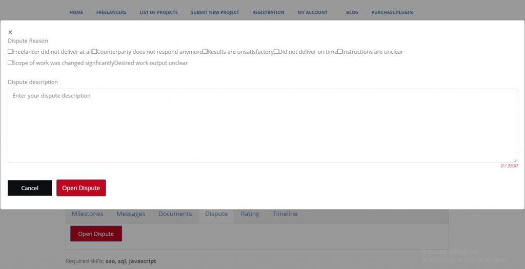 Freelancer Marketplace Plugin Opening a Dispute