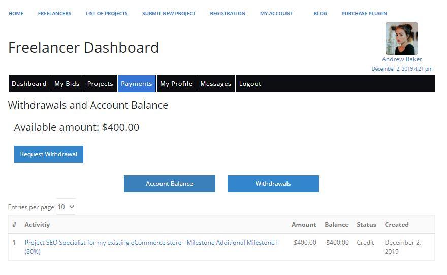 Freelancer Marketplace Plugin Freelancer Dashboard Payments Tab